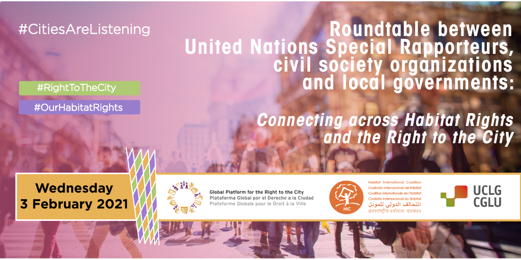 UN Special Rapporteur discussion with loal governments and civil society